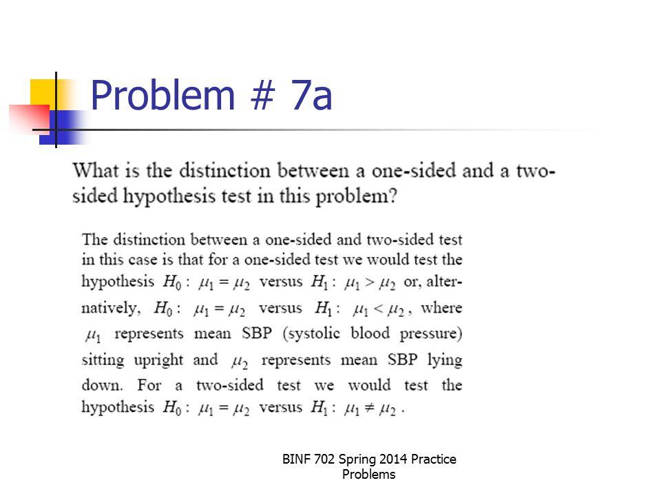 Problem # 7a