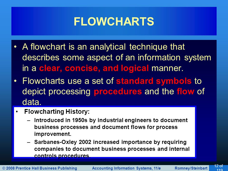 © 2008 Prentice Hall Business Publishing Accounting Information Systems, 11/e Romney/Steinbart 12 of 119 FLOWCHARTS A flowchart is an analytical technique that describes some aspect of an information system in a clear, concise, and logical manner.