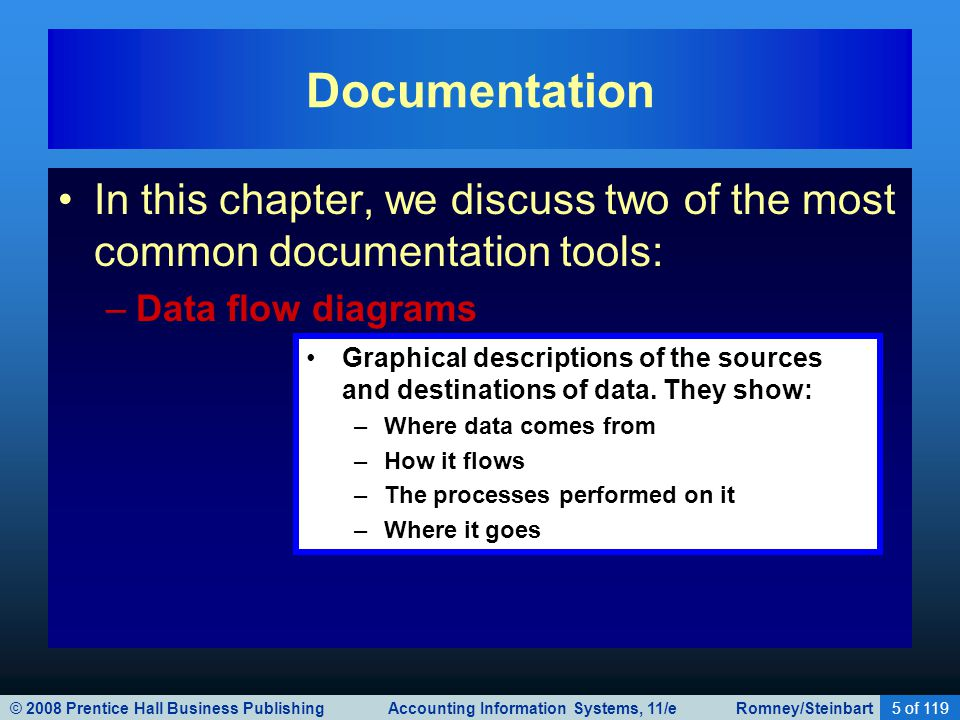 © 2008 Prentice Hall Business Publishing Accounting Information Systems, 11/e Romney/Steinbart6 of 119 In this chapter, we discuss two of the most common documentation tools: –Data flow diagrams –Flowcharts Include three types: –Document flowcharts describe the flow of documents and information between departments or units.