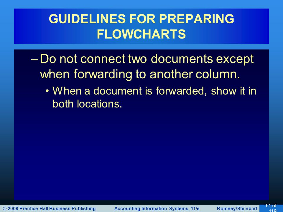 © 2008 Prentice Hall Business Publishing Accounting Information Systems, 11/e Romney/Steinbart 61 of 119 GUIDELINES FOR PREPARING FLOWCHARTS –Do not connect two documents except when forwarding to another column.