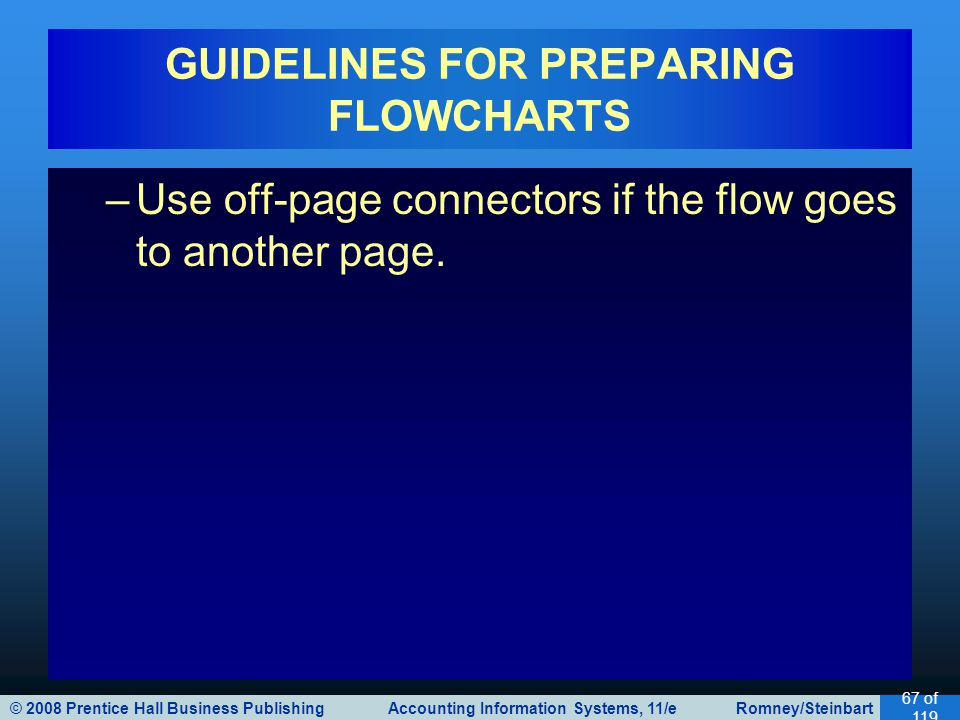 © 2008 Prentice Hall Business Publishing Accounting Information Systems, 11/e Romney/Steinbart 67 of 119 GUIDELINES FOR PREPARING FLOWCHARTS –Use off-page connectors if the flow goes to another page.