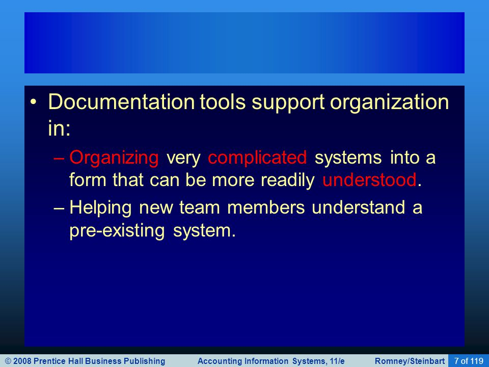 © 2008 Prentice Hall Business Publishing Accounting Information Systems, 11/e Romney/Steinbart7 of 119 Documentation tools support organization in: –O