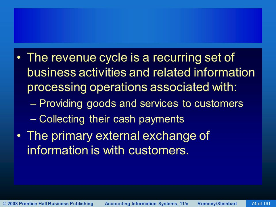 © 2008 Prentice Hall Business Publishing Accounting Information Systems, 11/e Romney/Steinbart74 of 161 The revenue cycle is a recurring set of business activities and related information processing operations associated with: –Providing goods and services to customers –Collecting their cash payments The primary external exchange of information is with customers.