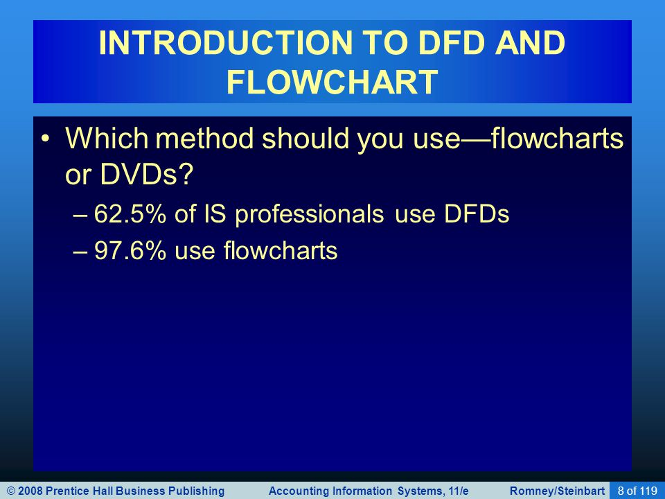 © 2008 Prentice Hall Business Publishing Accounting Information Systems, 11/e Romney/Steinbart8 of 119 INTRODUCTION TO DFD AND FLOWCHART Which method should you use—flowcharts or DVDs.