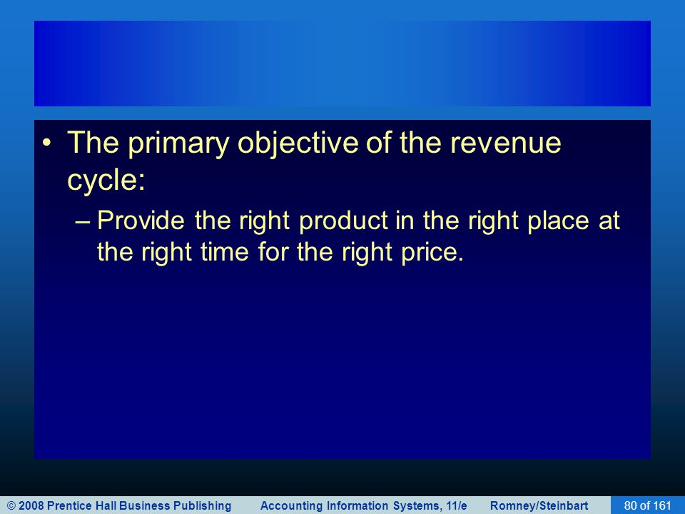 © 2008 Prentice Hall Business Publishing Accounting Information Systems, 11/e Romney/Steinbart80 of 161 The primary objective of the revenue cycle: –P