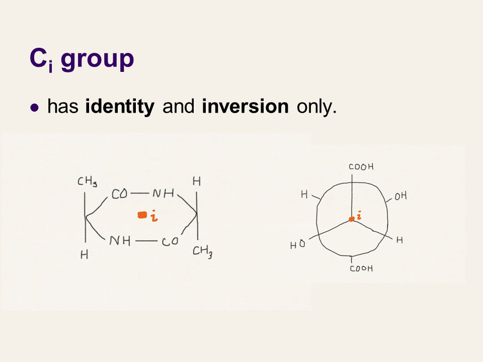 C i group has identity and inversion only.