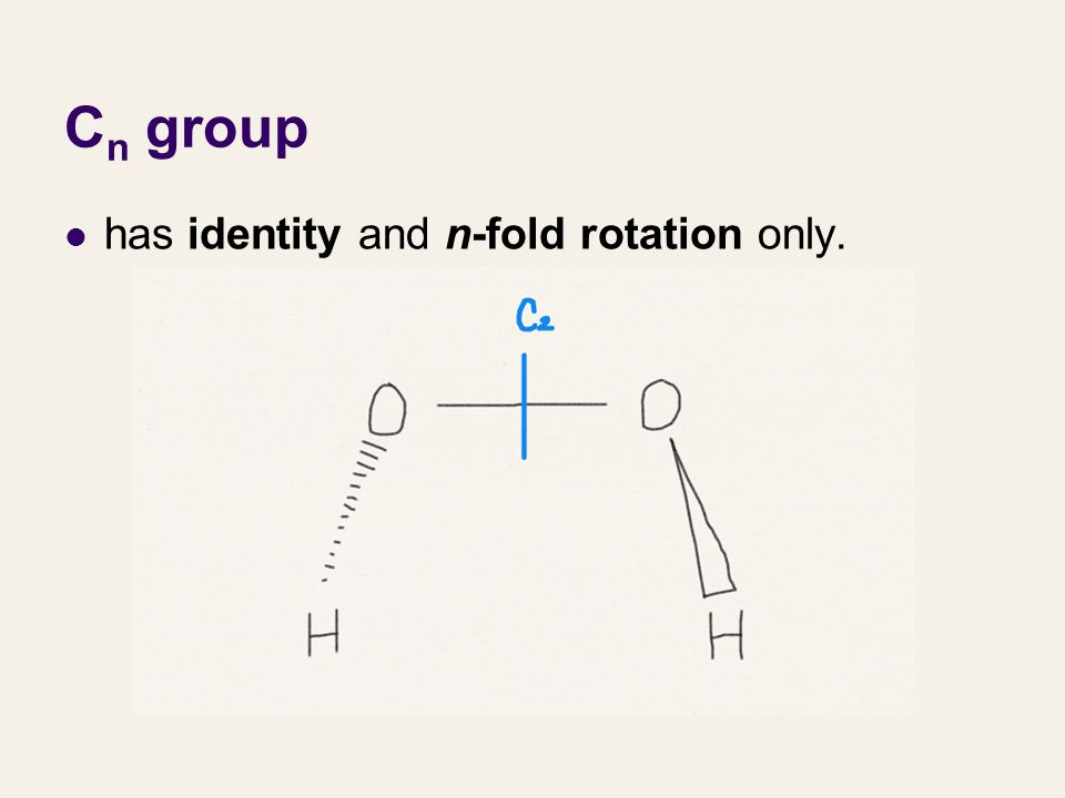 C n group has identity and n-fold rotation only.