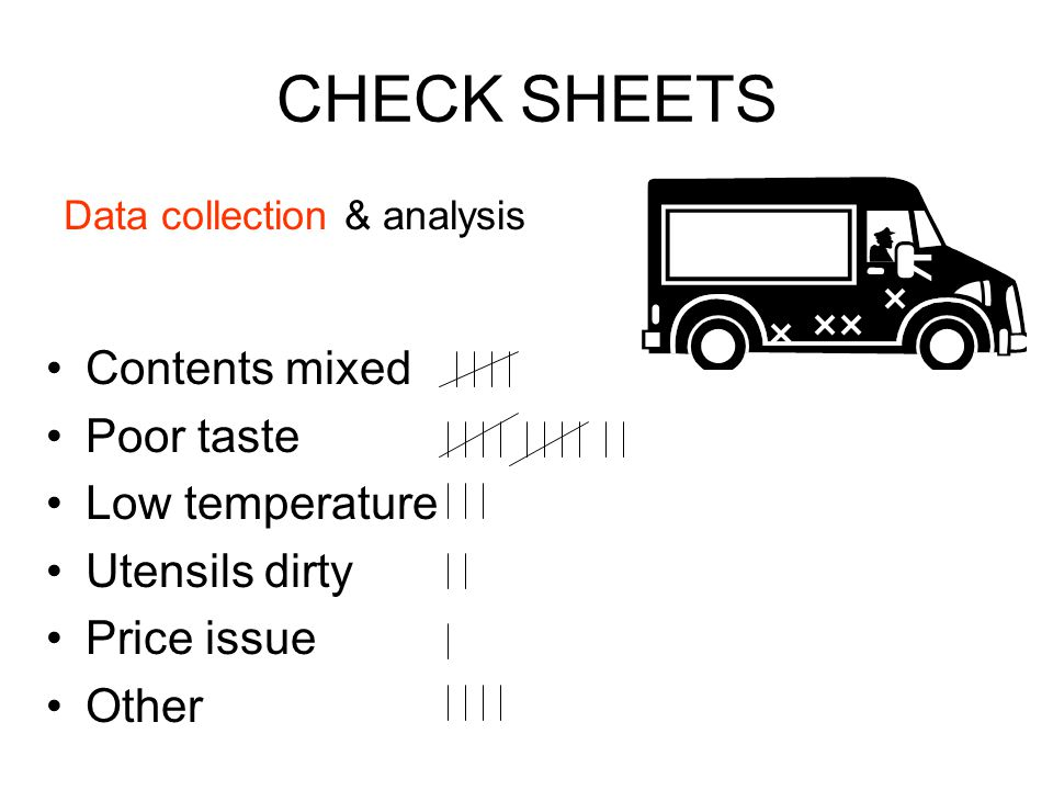 CHECK SHEETS Data collection & analysis Contents mixed Poor taste Low temperature Utensils dirty Price issue Other