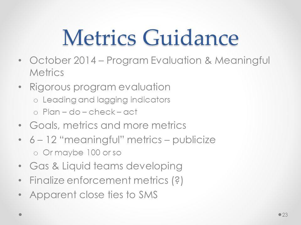 Metrics Guidance October 2014 – Program Evaluation & Meaningful Metrics Rigorous program evaluation o Leading and lagging indicators o Plan – do – che