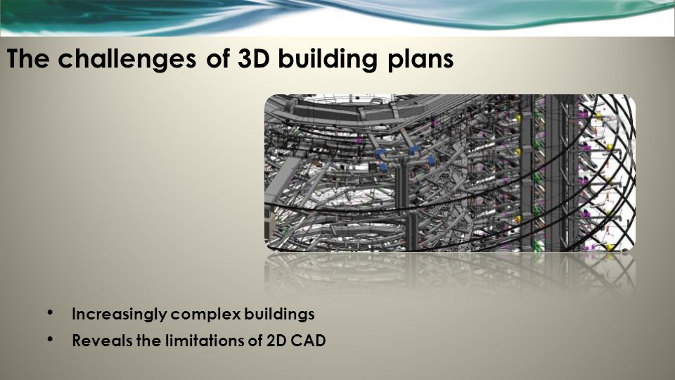 The challenges of 3D building plans Increasingly complex buildings Reveals the limitations of 2D CAD