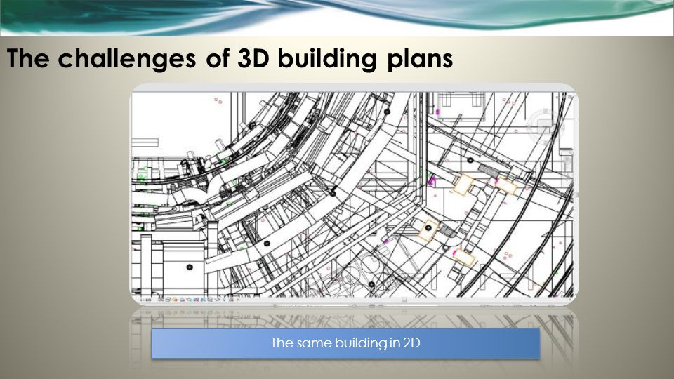 The challenges of 3D building plans The same building in 2D