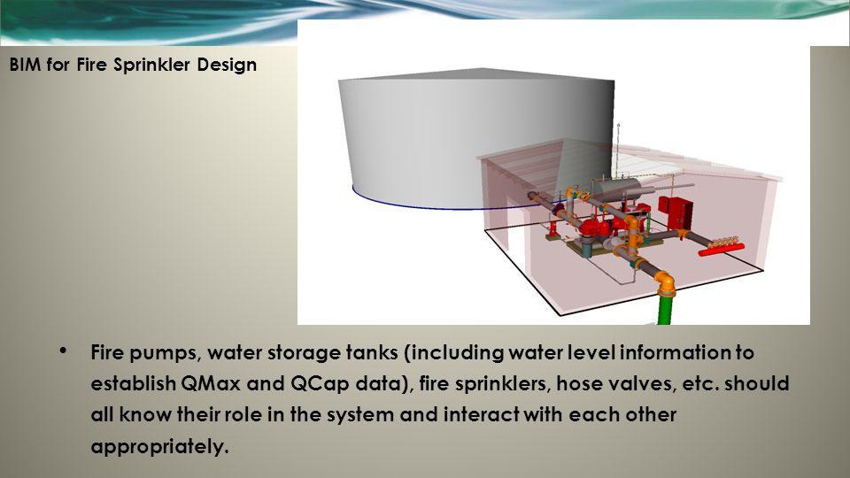 BIM for Fire Sprinkler Design Fire pumps, water storage tanks (including water level information to establish QMax and QCap data), fire sprinklers, ho