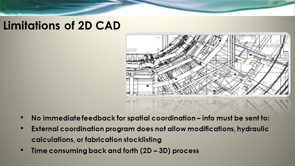 Limitations of 2D CAD No immediate feedback for spatial coordination – info must be sent to: External coordination program does not allow modification