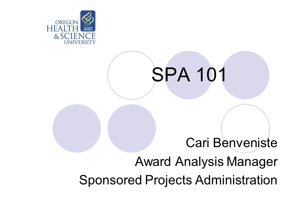 SPA 101 Cari Benveniste Award Analysis Manager Sponsored Projects Administration