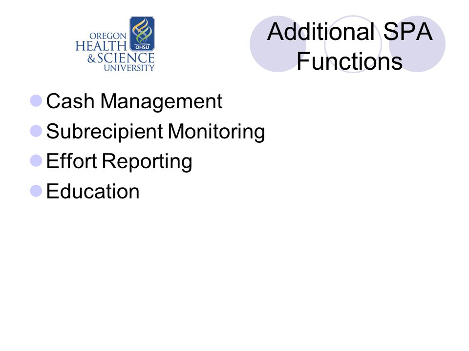 Additional SPA Functions Cash Management Subrecipient Monitoring Effort Reporting Education