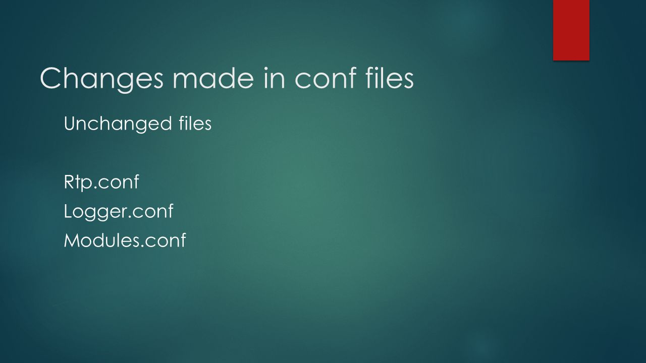 Changes made in conf files Unchanged files Rtp.conf Logger.conf Modules.conf