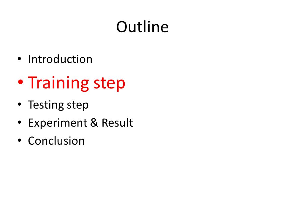 Flow chart: training Generate features each image from dataset, ex: SIFT or geometric blur Input distances to SVM for training, evaluate W Compute distance dji, dki