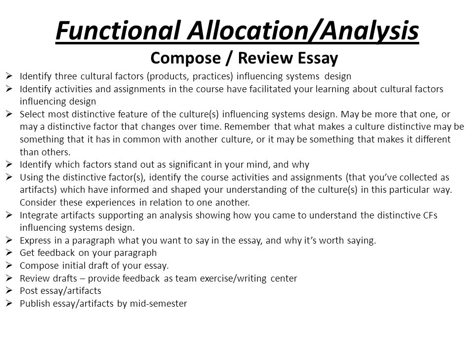Functional Allocation/Analysis Compose / Review Essay  Identify three cultural factors (products, practices) influencing systems design  Identify activities and assignments in the course have facilitated your learning about cultural factors influencing design  Select most distinctive feature of the culture(s) influencing systems design.
