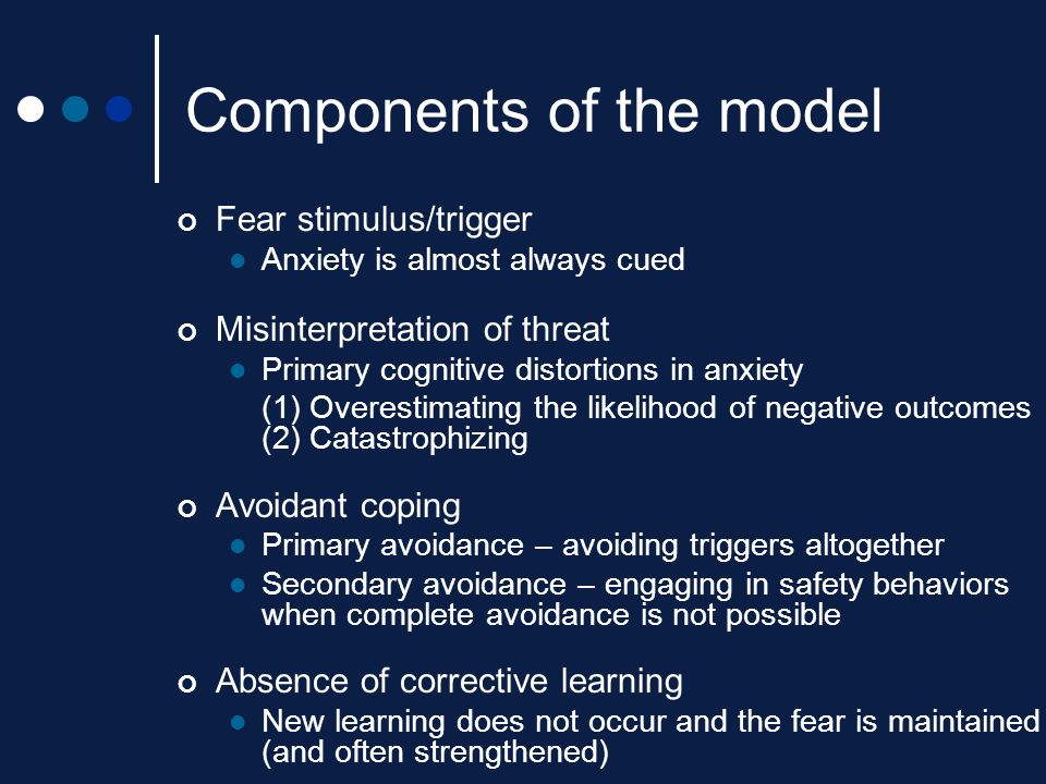 Components of the model Fear stimulus/trigger Anxiety is almost always cued Misinterpretation of threat Primary cognitive distortions in anxiety (1) O