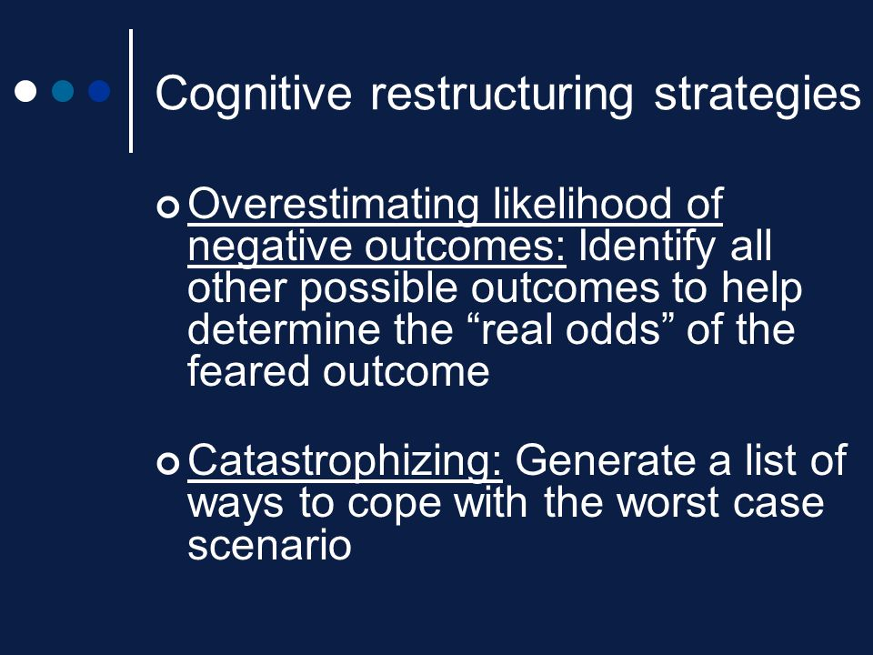 """Cognitive restructuring strategies Overestimating likelihood of negative outcomes: Identify all other possible outcomes to help determine the """"real od"""