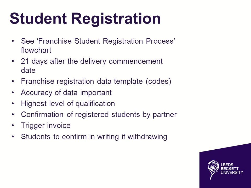 Student Registration See 'Franchise Student Registration Process' flowchart 21 days after the delivery commencement date Franchise registration data template (codes) Accuracy of data important Highest level of qualification Confirmation of registered students by partner Trigger invoice Students to confirm in writing if withdrawing