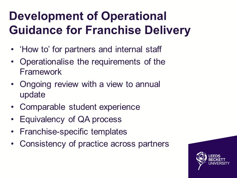 Operational Guidance – Structure and Contents Pre-delivery Operational plan Approval of partner staff Published information Student life cycle Admissions Student registration Student induction and representation Student files Continued…
