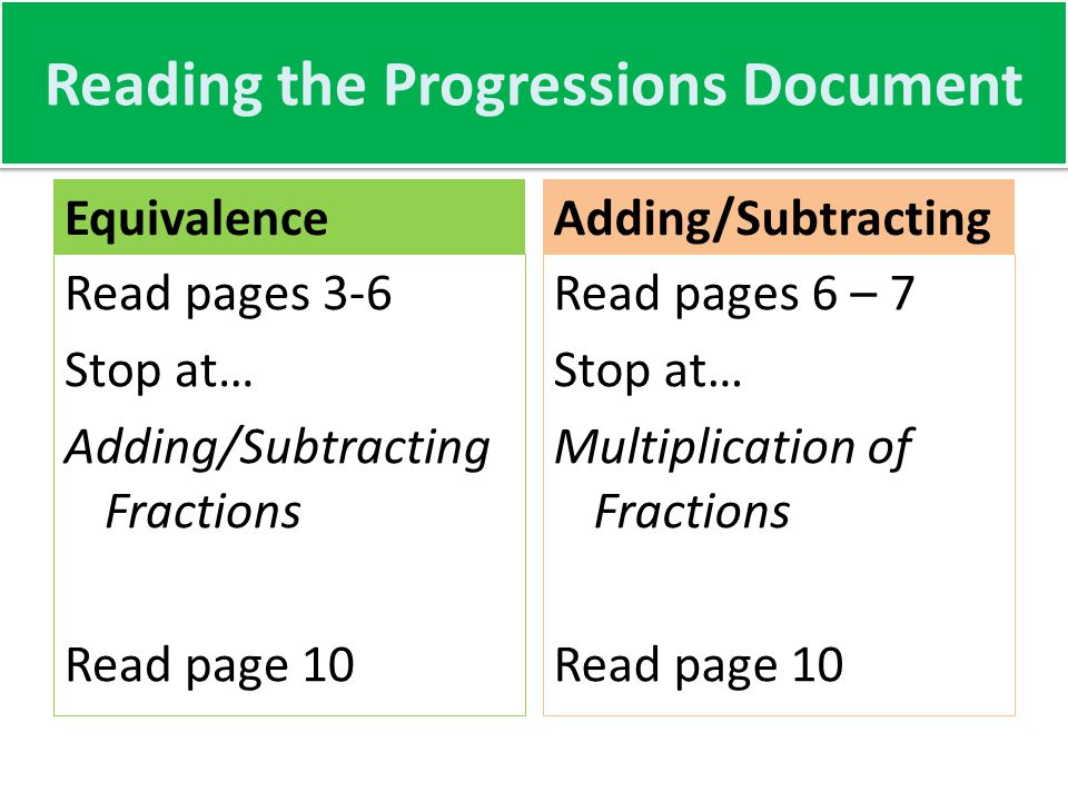 Reading the Progressions Document Equivalence Read pages 3-6 Stop at… Adding/Subtracting Fractions Read page 10 Adding/Subtracting Read pages 6 – 7 Stop at… Multiplication of Fractions Read page 10