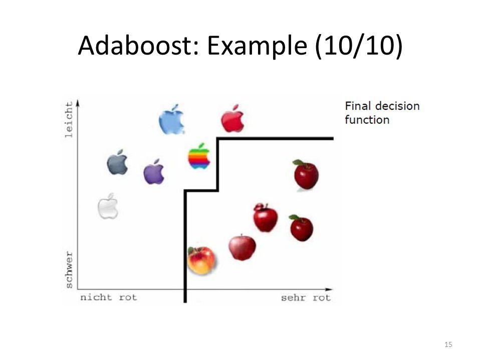 Adaboost: Example (10/10) 15