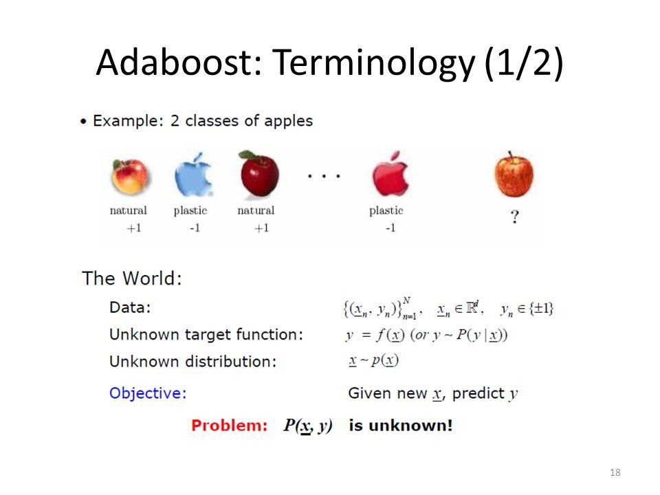 Adaboost: Terminology (1/2) 18