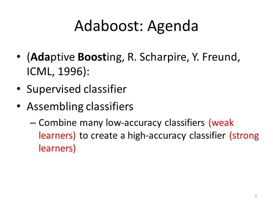 Adaboost: Agenda (Adaptive Boosting, R.Scharpire, Y.