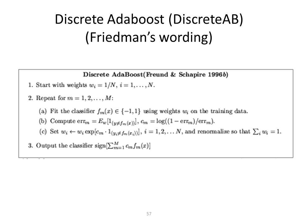57 Discrete Adaboost (DiscreteAB) (Friedman's wording)
