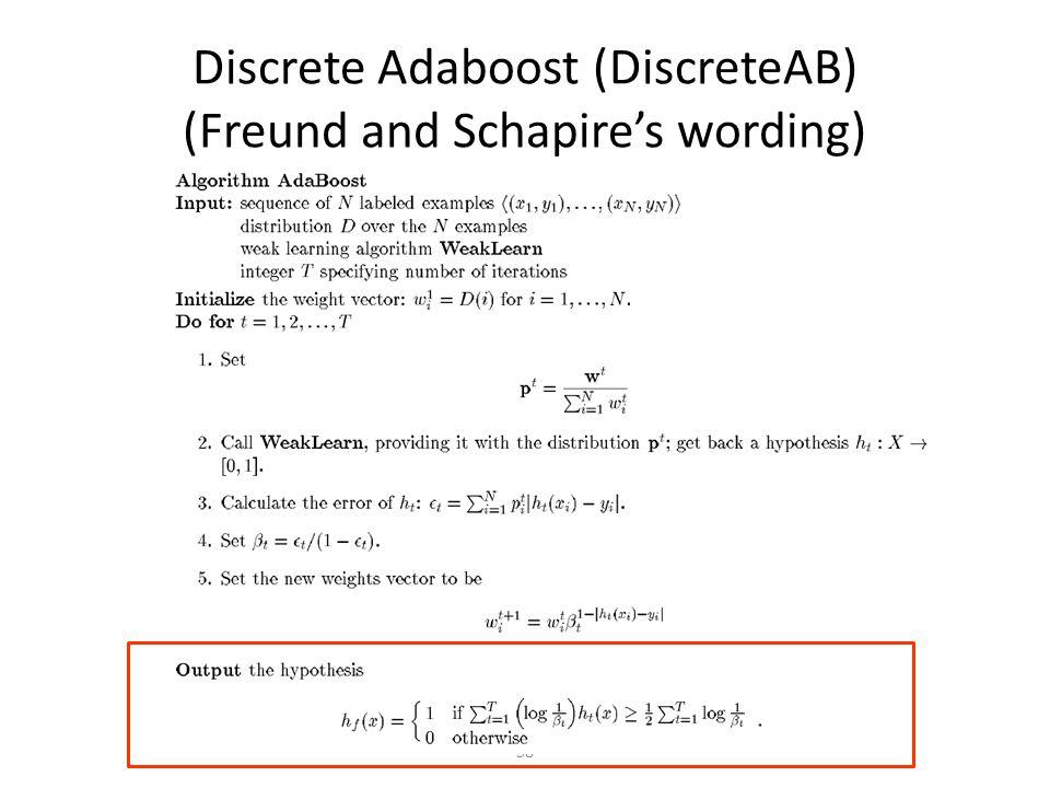 58 Discrete Adaboost (DiscreteAB) (Freund and Schapire's wording)