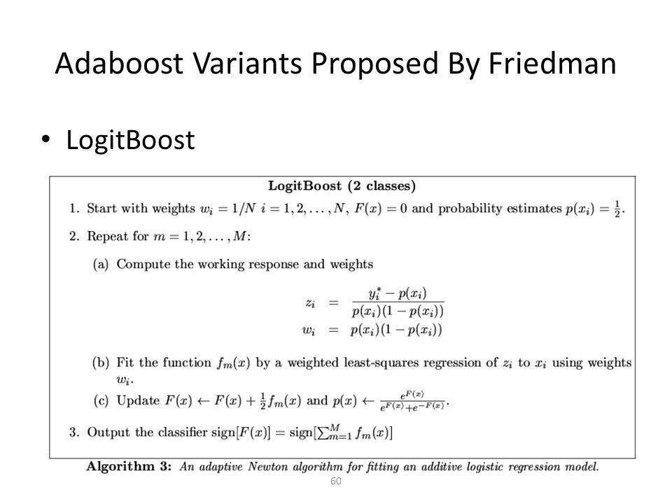60 Adaboost Variants Proposed By Friedman LogitBoost