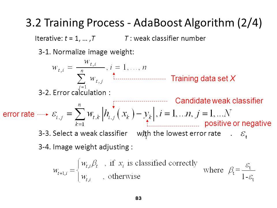 83 Iterative: t = 1, …,T T : weak classifier number 3-1.