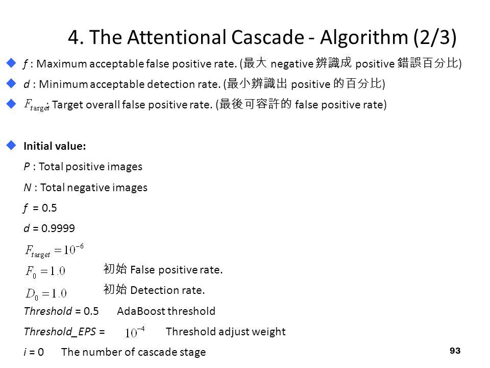 93  f : Maximum acceptable false positive rate.