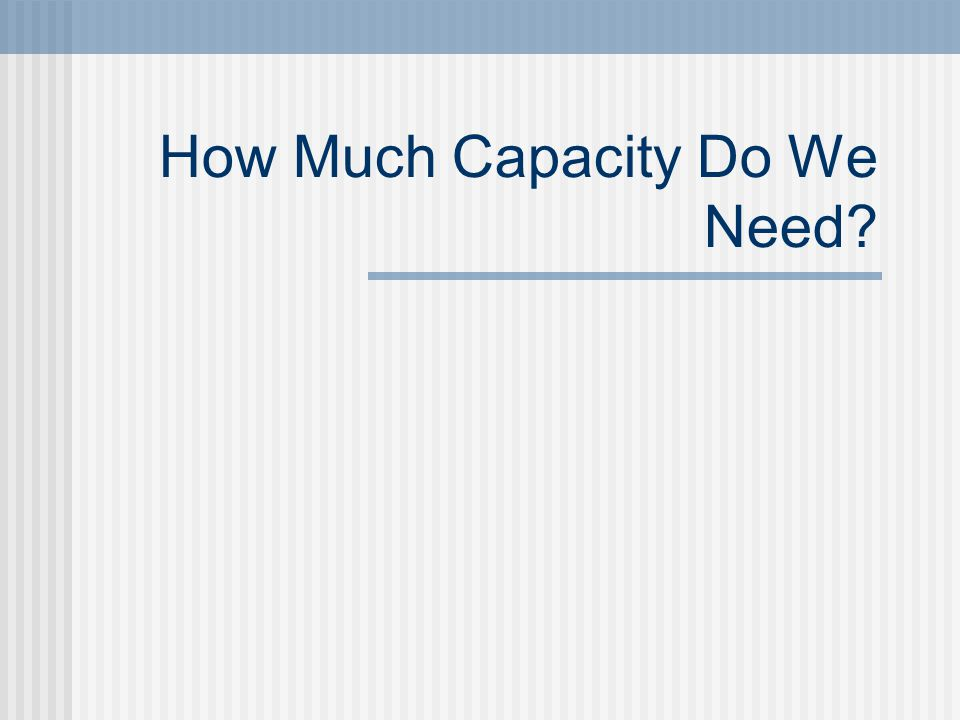 How Much Capacity Do We Need