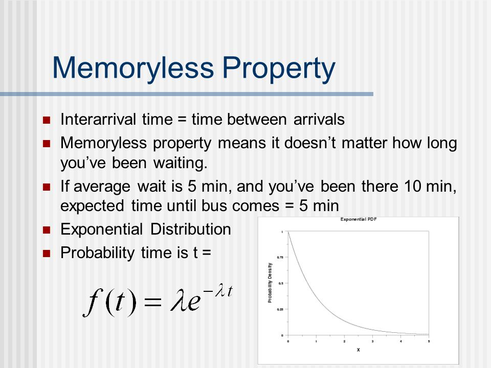 Memoryless Property Interarrival time = time between arrivals Memoryless property means it doesn't matter how long you've been waiting. If average wai