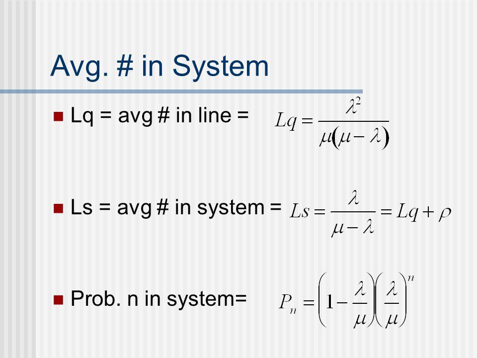 Avg. # in System Lq = avg # in line = Ls = avg # in system = Prob. n in system=