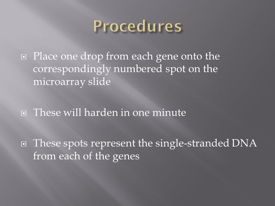  Place one drop from each gene onto the correspondingly numbered spot on the microarray slide  These will harden in one minute  These spots represent the single-stranded DNA from each of the genes