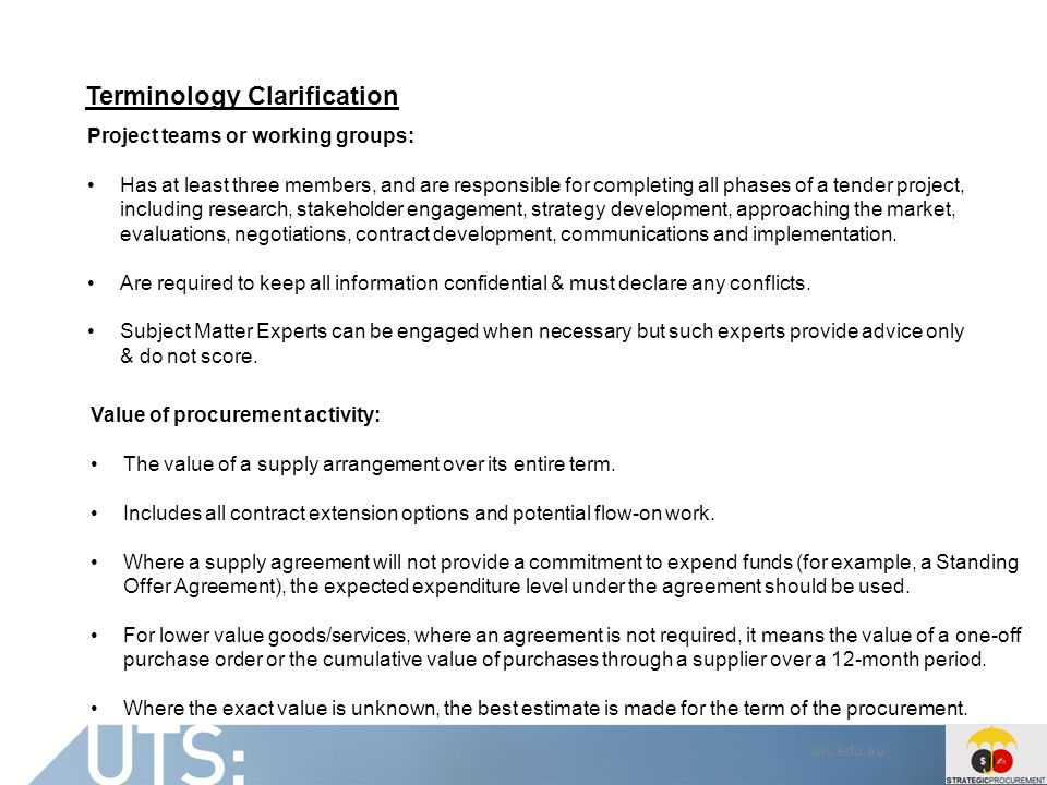 uts.edu.au Terminology Clarification Project teams or working groups: Has at least three members, and are responsible for completing all phases of a t