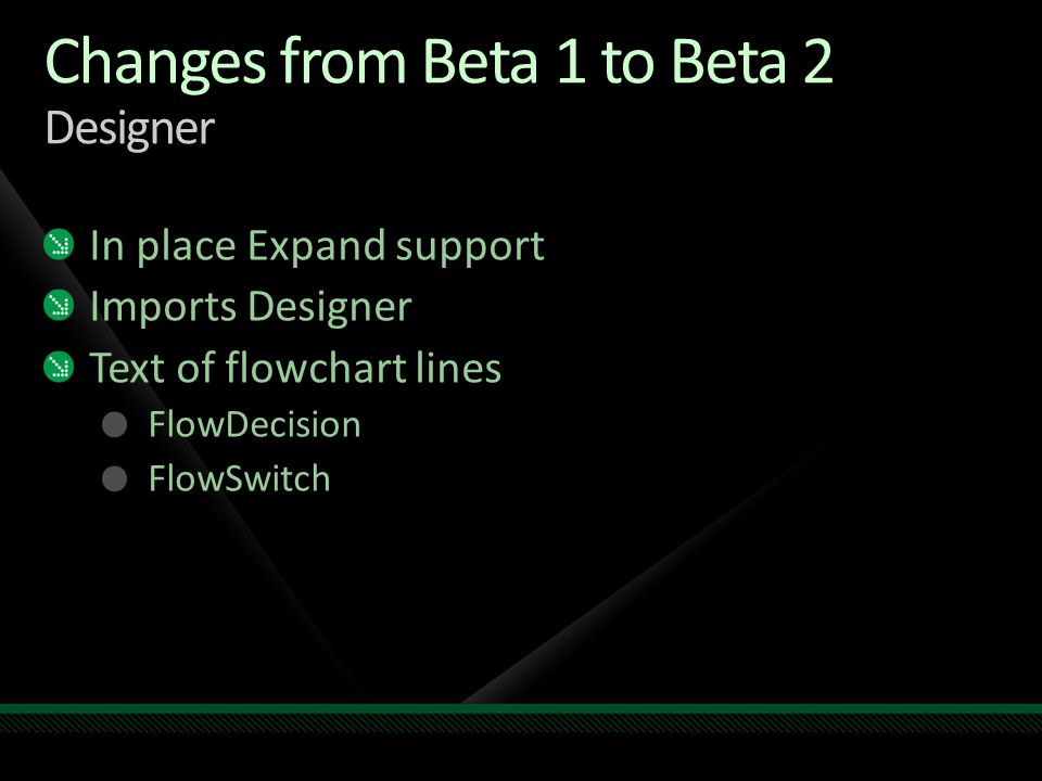 Changes from Beta 1 to Beta 2 Designer In place Expand support Imports Designer Text of flowchart lines FlowDecision FlowSwitch