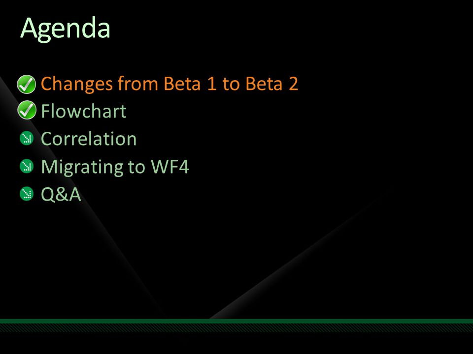 Agenda Changes from Beta 1 to Beta 2 Flowchart Correlation Migrating to WF4 Q&A