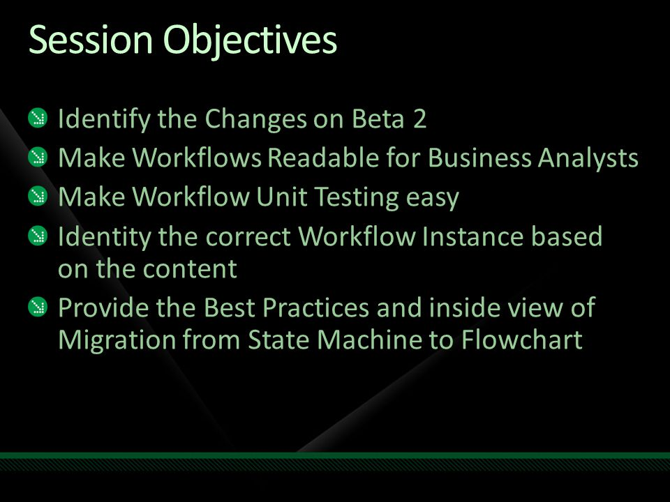 Session Objectives Identify the Changes on Beta 2 Make Workflows Readable for Business Analysts Make Workflow Unit Testing easy Identity the correct Workflow Instance based on the content Provide the Best Practices and inside view of Migration from State Machine to Flowchart
