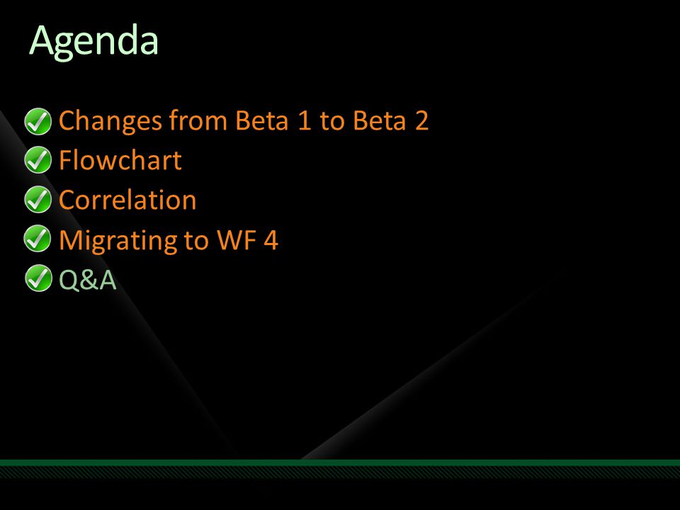 Agenda Changes from Beta 1 to Beta 2 Flowchart Correlation Migrating to WF 4 Q&A