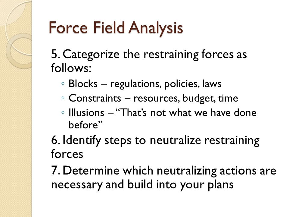 Force Field Analysis 5. Categorize the restraining forces as follows: ◦ Blocks – regulations, policies, laws ◦ Constraints – resources, budget, time ◦
