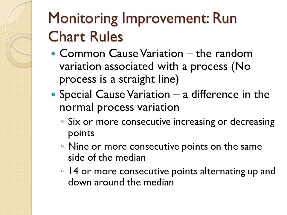 Monitoring Improvement: Run Chart Rules Common Cause Variation – the random variation associated with a process (No process is a straight line) Specia