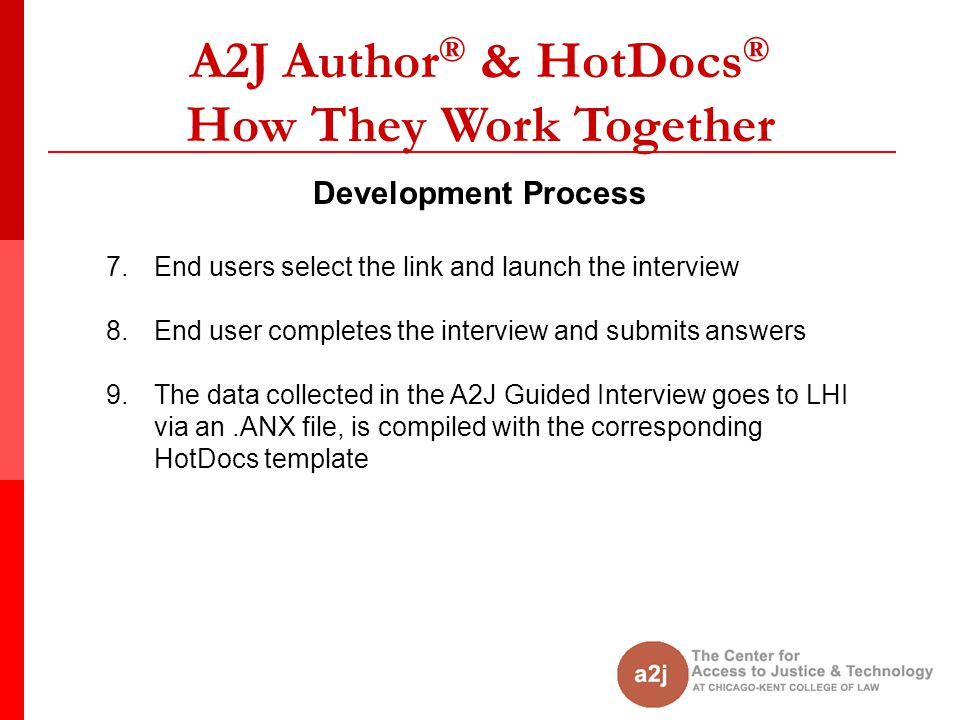 A2J Author ® & HotDocs ® How They Work Together Development Process 7.End users select the link and launch the interview 8.End user completes the inte