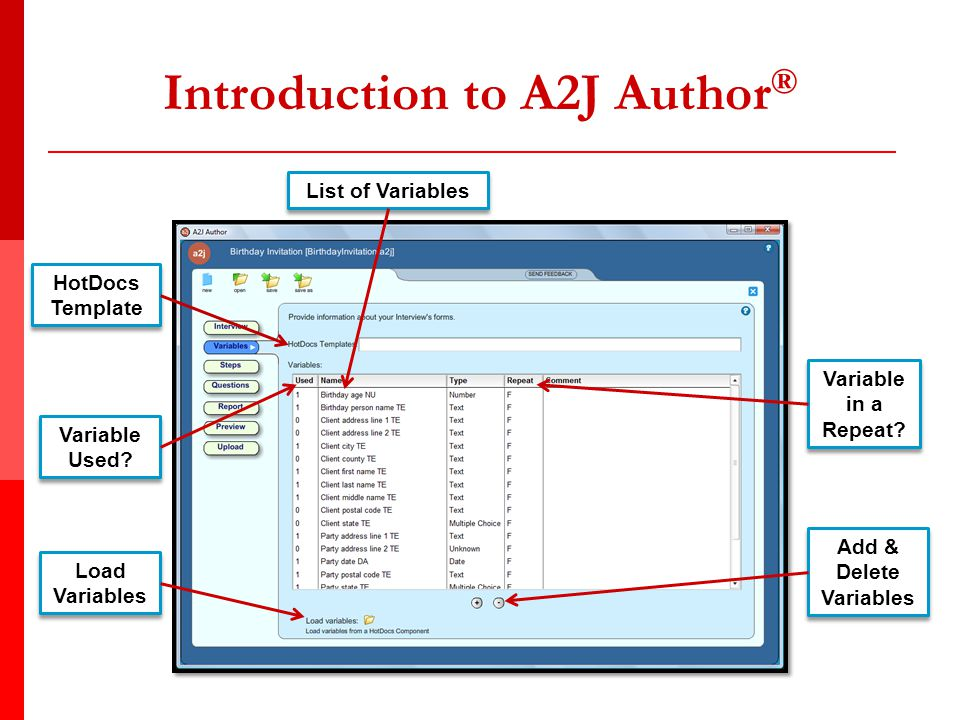 Introduction to A2J Author ® HotDocs Template Variable in a Repeat.