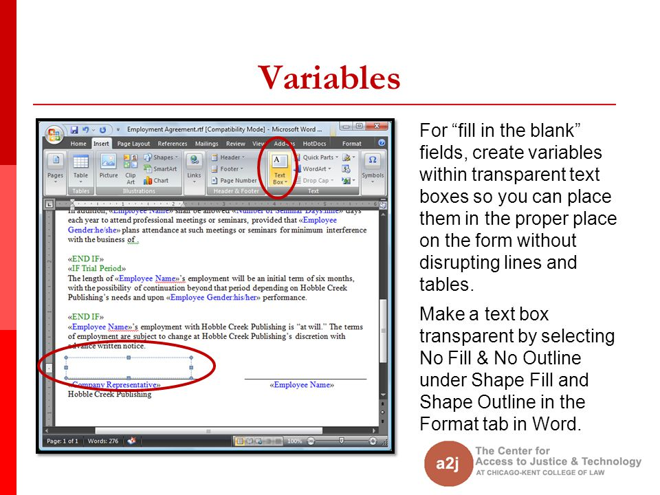 """Variables For """"fill in the blank"""" fields, create variables within transparent text boxes so you can place them in the proper place on the form without"""