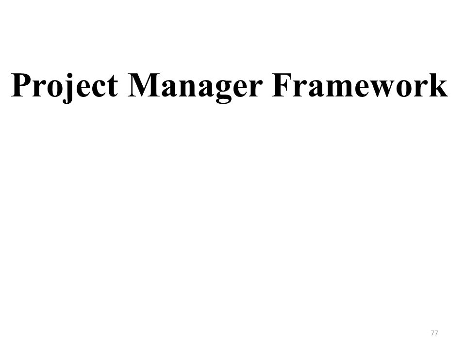 Project Manager Framework 77
